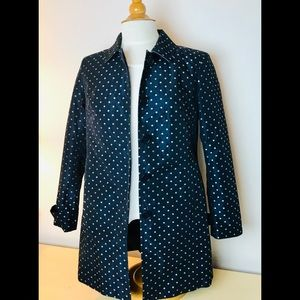 Talbots Navy and Silver Trench Coat